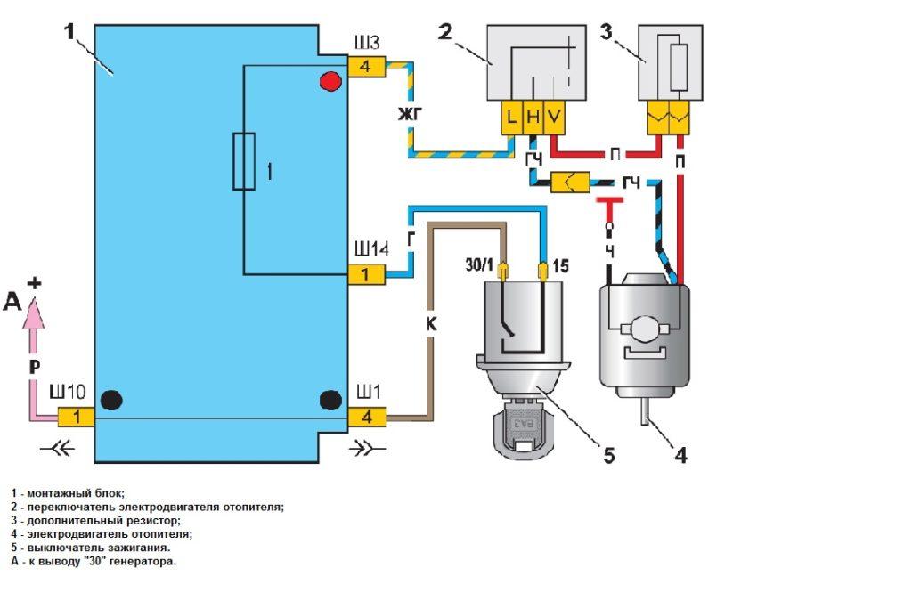 Схема подключения мотора отопителя Ваз-2107
