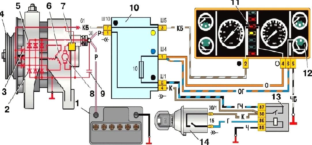 Электрическая схема генераторной установки ваз-2107 (карбюраторной.